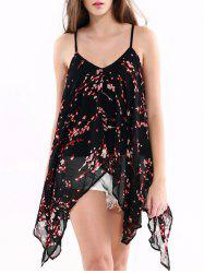 Spaghetti Strap Floral Print High Low Chiffon Tank Top -