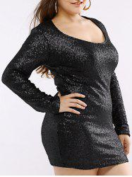 Long Sleeve Sequin Mini T Shirt Club Dress - BLACK 2XL