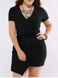 Plus Size Chic Shirred Asymmetrical Black Dress