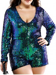 Plus Size Stylish Plunging Neck Sequined Romper -
