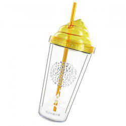 Creative 350ML Transparent Double Leakproof Cover Cup With Straw -