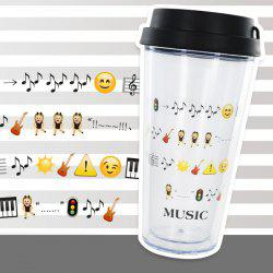 Creative Cartoon Expression Double Leakproof Cover Cup With Straw -