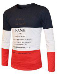 Color Splicing Round Neck Long Sleeve T-Shirt For Men