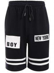 Lettres rayures Shorts - Noir