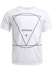 BoyNewYork Geometric Pattern Solid Color T-Shirt -