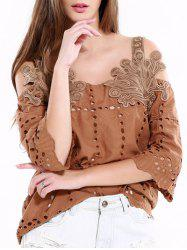 Vintage Hollow Out Solid Color Blouse - KHAKI