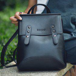 Vintage Solid Color and Buckle Design Satchel For Women