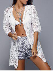 Openwork Row Edged Floral Lace Kimono Cover-Up