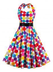 Retro Halter Sweetheart Neck Colorful Polk Dot Dress - COLORMIX