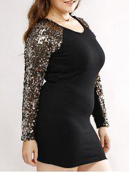 Plus Size Bodycon Long Sleeve Sequin T Shirt Dress - BLACK AND GOLDEN 2XL