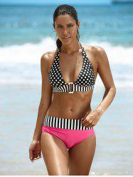 Halter Polka Dot Two Piece Swimsuit - BLACK AND PINK