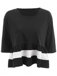 Sweet Dropped Shoulder Ruffle Hem Women's Loose Top