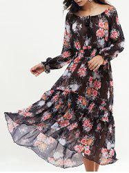 Bohemian Floral Swingy Long Sleeve Maxi Dress -