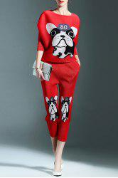 Cartoon Dog Print Top and Pants