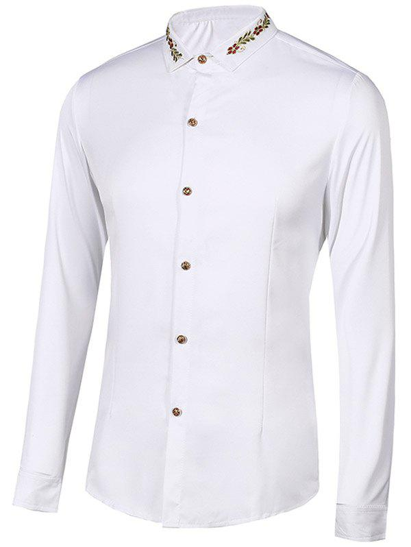 Floral Embroidery Turn-Down Collar Long Sleeve Shirt Men L