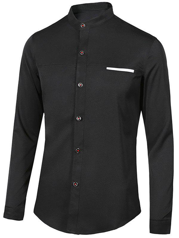 Chic Edging Stand Collar Long Sleeve Shirt For Men