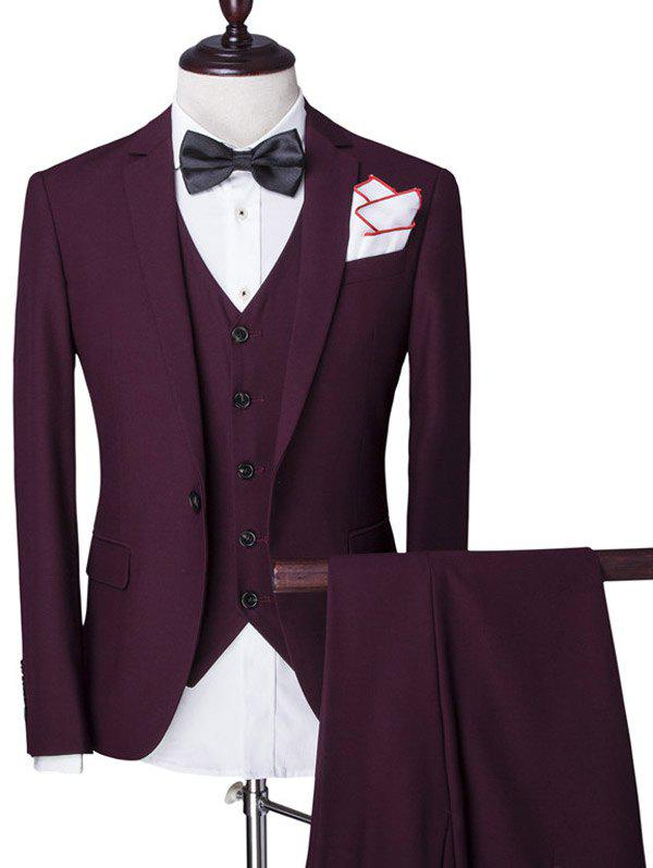 Fashion Lapel Single Breasted Solid Color Long Sleeve Three-Piece Suit ( Blazer + Waistcoat + Pants ) For Men
