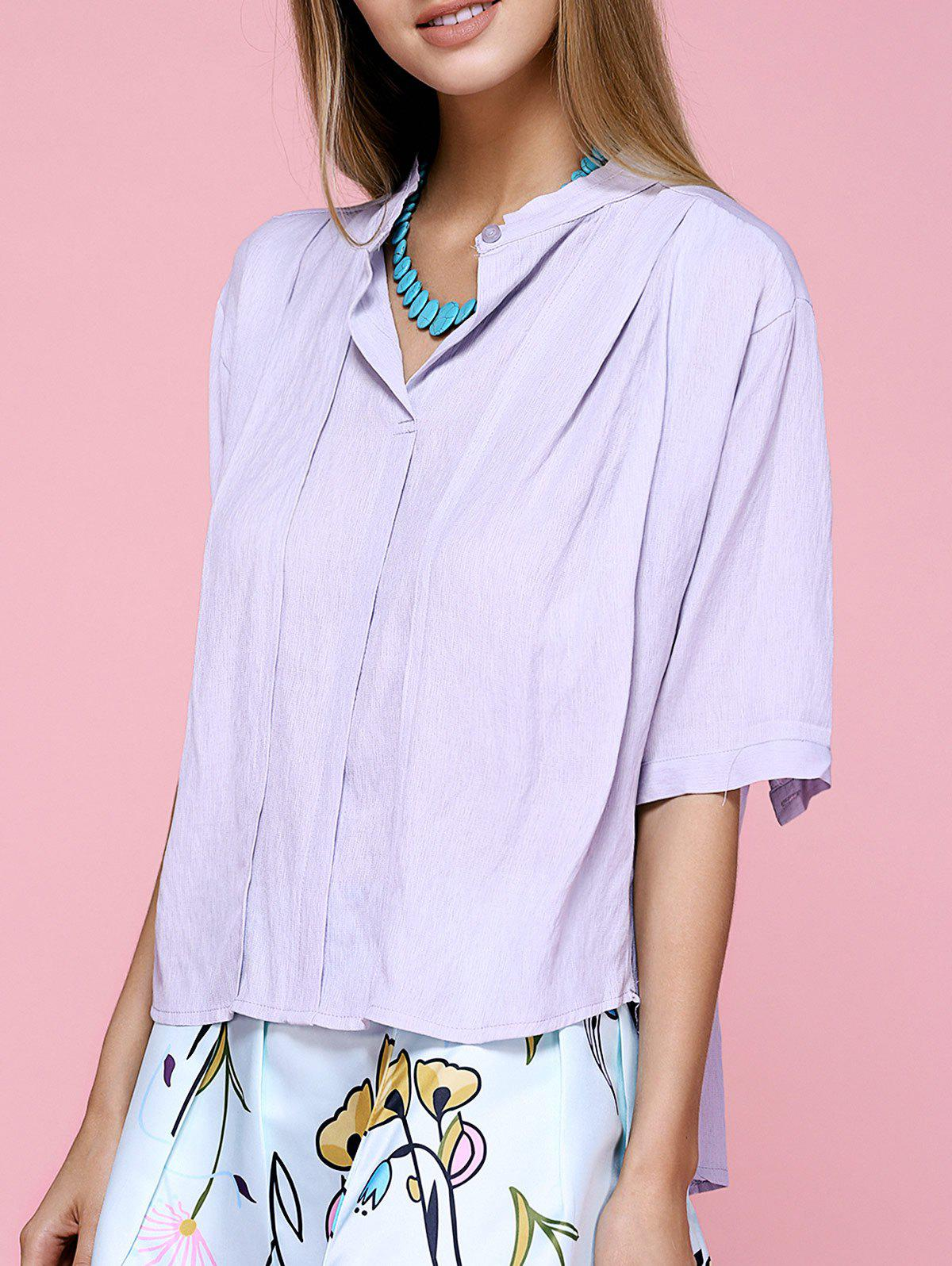 Outfits Brief Stand Collar Short Sleeve Lavender Shirt