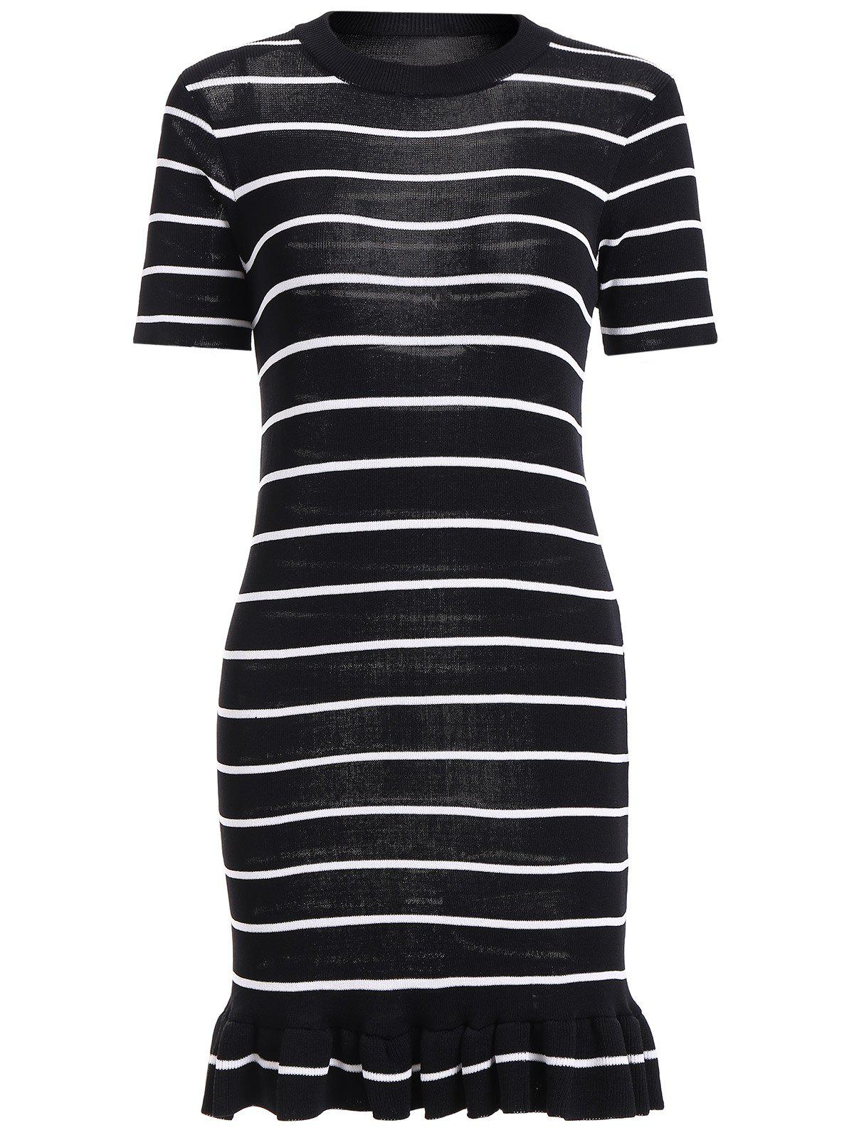 Cheap Striped Short Sleeve Mermaid Knit Dress