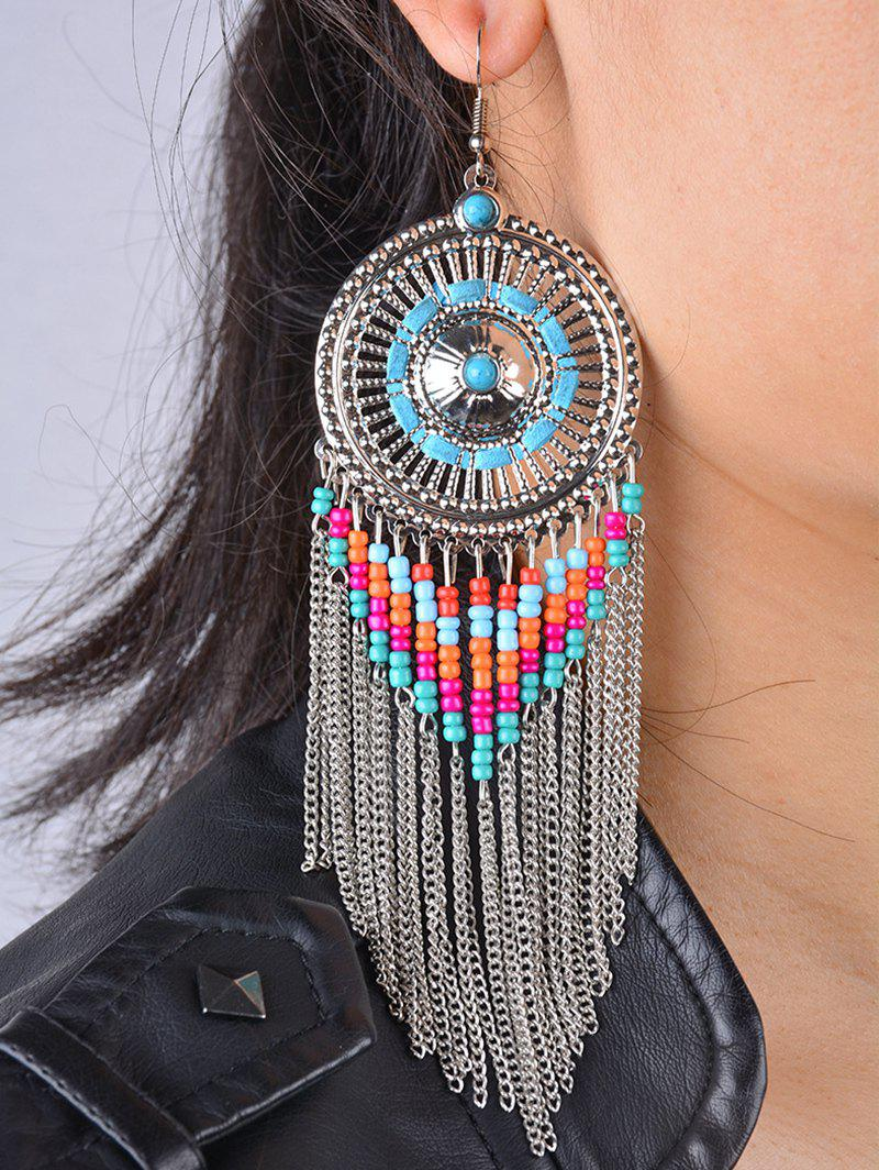 Bohemian Bead Fringed EarringsJEWELRY<br><br>Color: SILVER; Earring Type: Drop Earrings; Gender: For Women; Metal Type: Alloy; Style: Trendy; Shape/Pattern: Others; Weight: 0.060kg; Package Contents: 1 x Earrings (Pair);