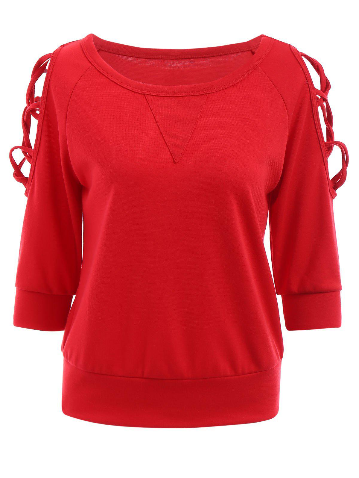 Mode col rond manches 3/4 Criss-Cross évider Sweatshirt Red For Women Rouge L