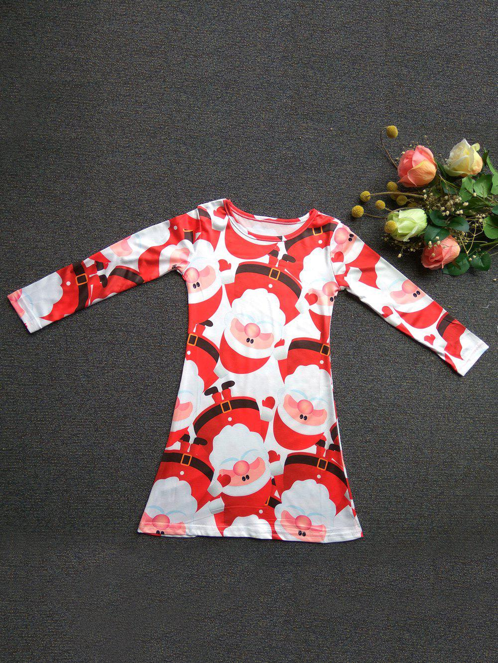 Fancy Fashionable Round Neck Long Sleeve Santa Claus Print Mini Christmas Dress For Girl