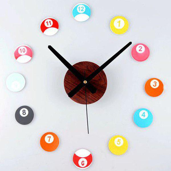 Store DIY Colorful PE Billiards Shape Digital Wall Sticker Clock
