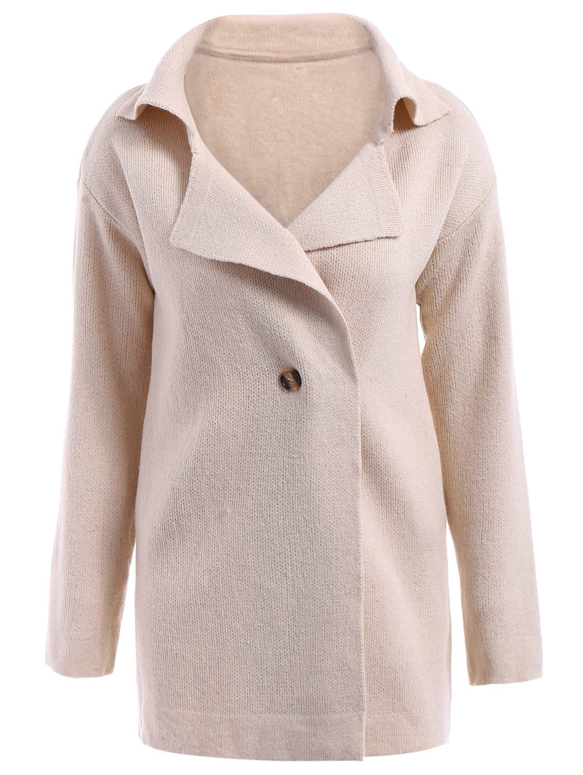 Cheap Casual Turn-Down Collar Loose-Fitting Solid Color Long Sleeve Women's Cardigan
