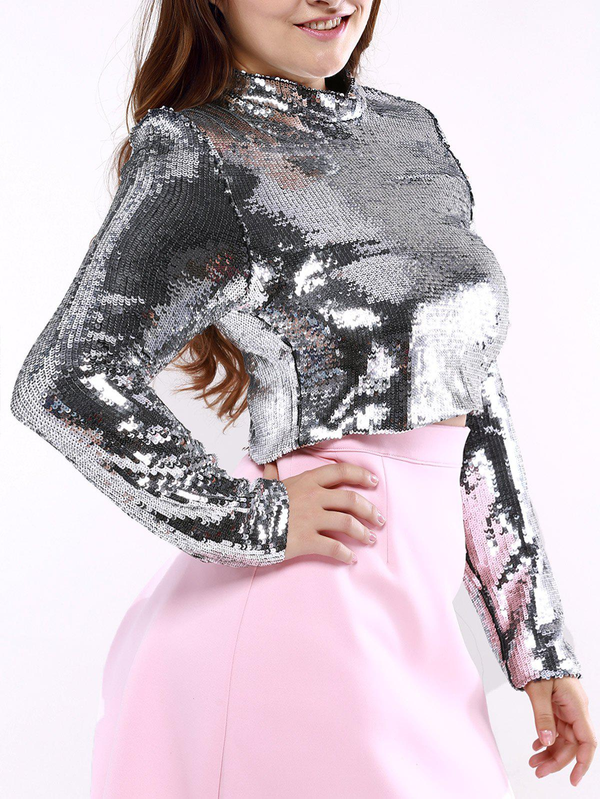 Latest Plus Size Long Sleeve Sequined Crop Top