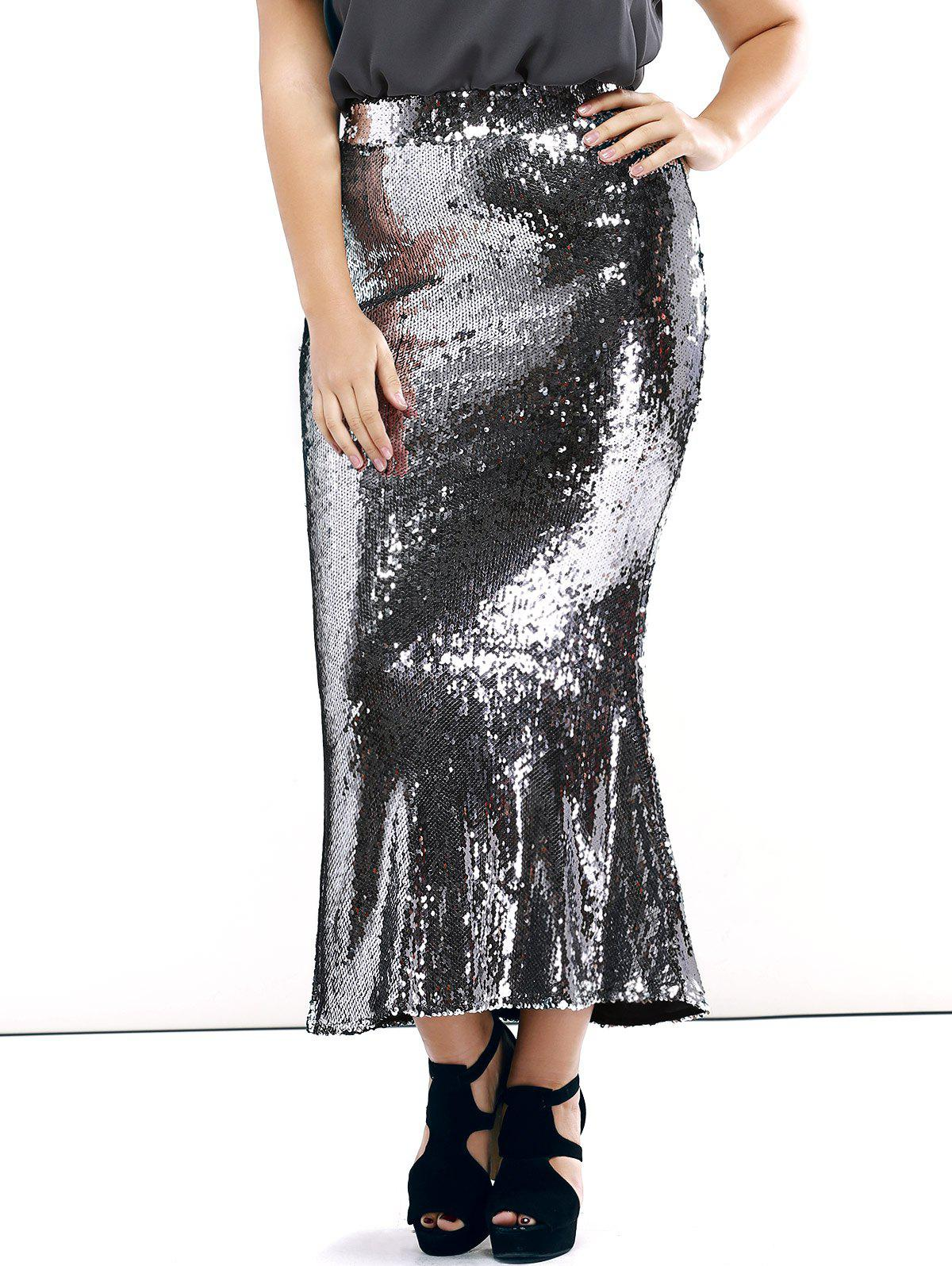 a236af2ad23 2018 Plus Size Sequined Mermaid Skirt