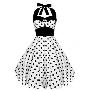 Vintage Halter Polka Dot Backless Corset  Dress - White - S