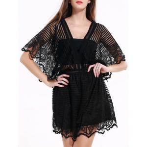 Black Lace Spliced Hollow Out Romper