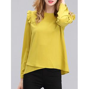 Chic Women's Pure Color Ruffled Long Sleeves Blouse - Yellow - S