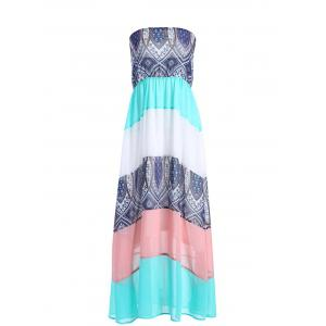 Ethnic Color Block Boob Tube Dress - Colorful - Xl