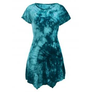 Short Sleeve Round Neck Tie-Dyed Asymmetric Dress