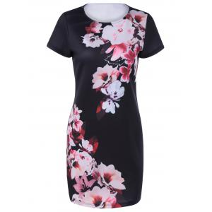 Fashionable Round Collar Short Sleeves Printing Dress For Women