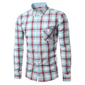 Chic Folded Pocket Long Sleeve Light Blue and Red Tartan Shirt For Men