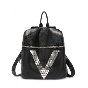 Casual Metal and Black Design Backpack For Women