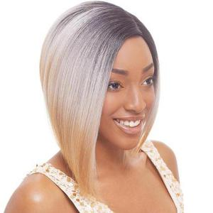 Fashion Short Side Parting Straight Mixed Color Women's Synthetic Hair Wig