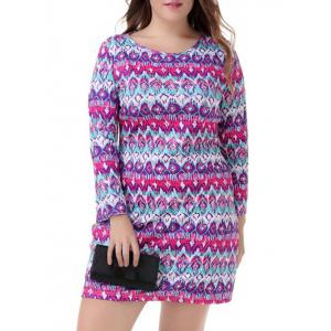 Plus Size Graphic Long Sleeve Tee Dress - Colormix - Xl