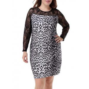 Plus Size Sophisticated Leopard Long Sleeve Sheath Dress