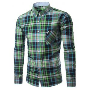 Chic Folded Pocket Long Sleeve Deep Green Tartan Shirt For Men