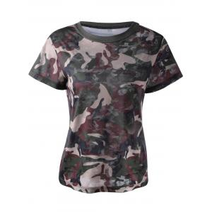 Fashionable Short Sleeves Round Collar Camo Printing T-Shirt For Women