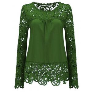 Solid Color Lace Spliced Hollow Out Blouse - Green - 3xl
