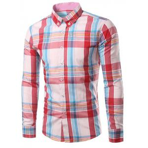 Classic Turn-Down Collar Long Sleeve Pink Plaid Shirt For Men