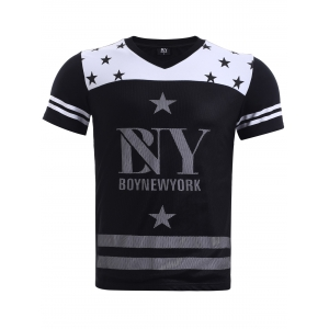 BoyNewYork Hit Color Stripes Star Pattern T-Shirt