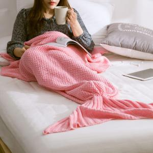 Handmade Knitted Home Decor Mermaid Tail Blanket - Pink - S