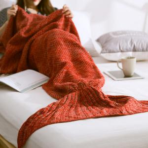 Handmade Knitted Home Decor Mermaid Tail Blanket - Red - S