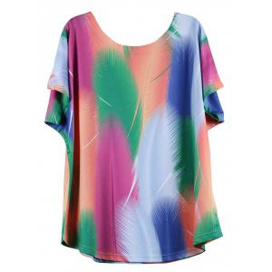 Looses-Fitting Bat Sleeve Colorized Feather Print Baggy T-Shirt -