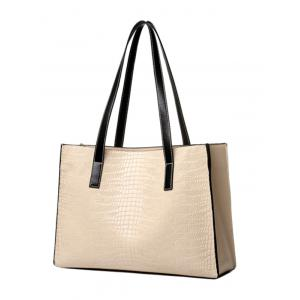 Simple Crocodile Embossed and PU Leather Design Shoulder Bag For Women -